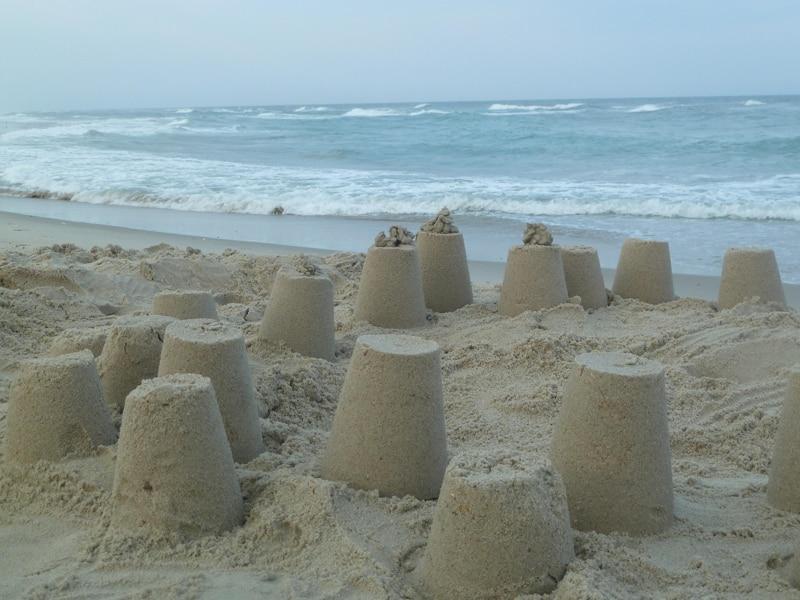 Three little sand castles
