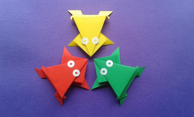 origami para niños cómo hacer ranas saltarinas de papel