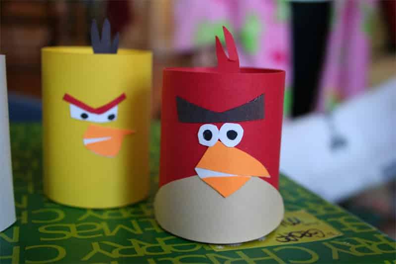 manualidades de angry birds con tubos o cartulina