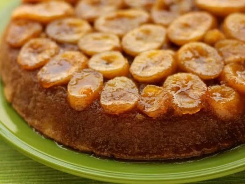 Cake invertido de plátano